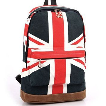 AutoM Women Canvas UK England Flag Punk BackPack Shoulder Bag Handbag Duffle School