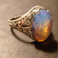 Victorian Style Fire Opal Antique Silver Ring by ClockworkAlley