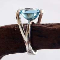 SALE Blue Topaz Australia Silver Ring by mysticalCharm3 on Etsy