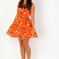 Missguided - Mirfi Peaches Print Lace Collar Dress