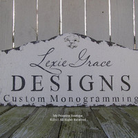 Shabby Chic, BUSINESS SIGN, Fleur De Lis Design, Home Decor, Hand Painted Cottage Wedding Sign