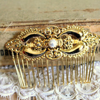 Gold and pearlsOriental hair comb- Bridal hair comb 14k gold plated  Victorian shabby chic vintage style with Swarovski elegant pearls .