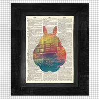Take Me to Totoro Original Studio Ghibli Inspired Print on an Antique Upcycled Bookpage