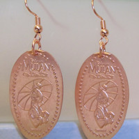Disney World Epcot Mulan pressed penny pure copper earrings