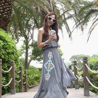 Grey Casual Tube Dress with Rhinestone: tidestore.com