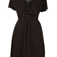 Polka Dot Wrap Jersey Dress
