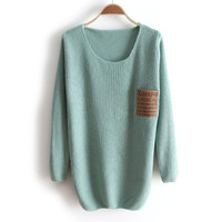 pockets decorative hedge round neck long sleeve sweater