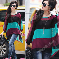 Women&#x27;s Batwing Dolman Multicolour Stripe Strander Vest Tops Blouses Shirt #432