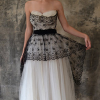 $350.00 50s black and white lace and tulle gown by Petrune on Etsy