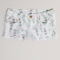 AE Ikat Frayed Denim Shortie | American Eagle Outfitters
