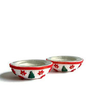 Christmas  Candle Holders Tree and Sparkling Stars in Red Green and White Swarovski Rhinestones  Polymer clay  Handmade home decor