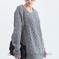 Wholesale Long Sleeve Round Coat Long Sweater Grey