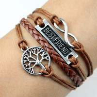 Best friend bracelet,friendship bracelet,infinity bracelet,wish tree bracelet,braid leather bracelet