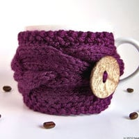 Purple Cup Cozy Eggplant Mug Cozy Coffee Cozy by natalya1905