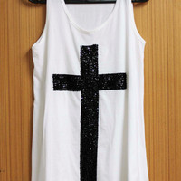CROSS T Shirts Tank Top Blouse Tunic women sleeveless shirt handmade crystal seed beads sequins sew fix
