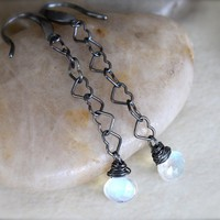 Moonstone Oxidized Sterling Silver Earrings by philosophyofnature