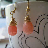 Georgia Peach Wedding - 14K gold petite golden pink faceted quartz teardrop wire wrapped earrings