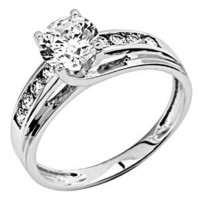 *** FREE RETURN *** 14K White Gold Solitaire 1.5 CT Equivalent Round CZ Cubic Zirconia High Polish Finish Ladies Wedding Engagement Ring Band with Round Side Stone