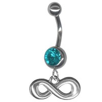 Infinity Belly Button Ring-Blue Zircon Color Jeweled 14 gauge 3/8 Barbell Navel Ring Body Jewelry with Infinity Charm-Figure 8: Jewelry: Amazon.com