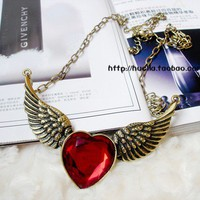 Vintage Winged Heart Pendant Long Chain Necklace