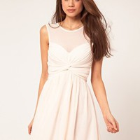 ASOS Mesh Skater Dress With Twist Front at asos.com