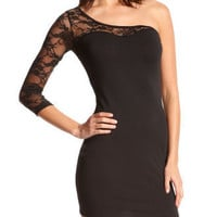 Charlotte Russe - Lace-Inset One Shoulder Dress