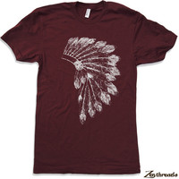 Mens Native American HEADDRESS american apparel t by ZenThreads