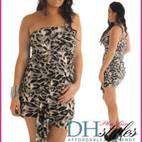 Mary-132X-Gray-Black Sexy Leopard Print One Shoulder Plus Size Dress