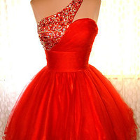 RED PROM COCKTAIL EVENING PAGEANT SHORT PARTY BRIDAL GOWN DRESS XL 14