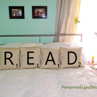 Set of 4 SCRABBLE LETTER decorative pillow cases cushion covers -- READ or choose any 4 letters