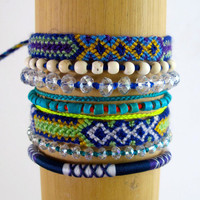 Arm Candy Bracelet Stack, Bright Bracelet Stack with tassels, Friendship Bracelets