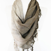 Two Colors Elegant Cotton Fringed Scarf,  Winter Trends, Gift, Headband, Bandana, Khaki / Beige,