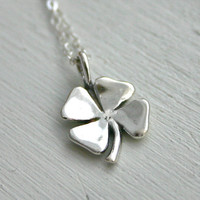 Sterling silver shamrock necklace lucky 4 leaf by JustJaynes $24