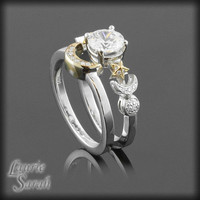 CZ Sun, Crescent Moon, Full Moon and Stars Wedding Ring Set in 14kt Yellow and White Gold - LS2320