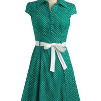 ModCloth Rockabilly Mid-length Cap Sleeves A-line Hepcat Dress in Clover