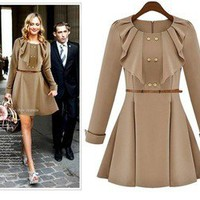 New Womens European Fashion Round Neck With Belt Long Sleeve Dress 2 Colors L196