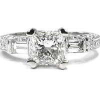 Princess baguette and round cut diamond engagement ring 1.50ctw