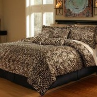 Amazon.com: 7Pcs Queen Leopard Faux Fur Bed in a Bag Comforter Set: Home & Kitchen