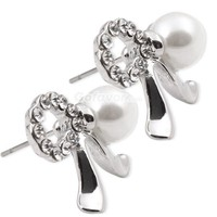 $3.19  Elegant Pearl Rhinestone Silver Tone Bow Stud Earrings at Online Cheap Fashion Jewelry Store Gofavor