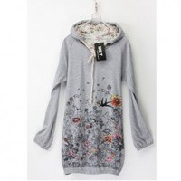 Casual Style Beautiful Flower and Birds Print Hooded Long Sleeves Cotton T-Shirt For Women China Wholesale - Sammydress.com