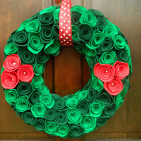 Holly Wreath - Christmas Wreath in Kelly Green, Pirate Green and Red with Pearls - 18  inch