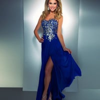 Mac Duggal Prom 2013 - Strapless Royal Blue Sequin Dress - Unique Vintage - Cocktail, Pinup, Holiday &amp; Prom Dresses.