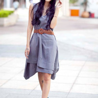 Summer Dress Casual Sundress Double Layer Round Neck Linen Long Dress in Dark Grey - NC127