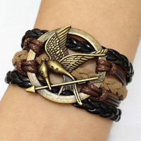 Antique Bronze The Hunger Games Bracelet-Mockingjay Bracelet--Wax Cords and Imitation Leather Bracelet, Friendship Gift