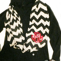 Monogrammed infinity scarf, chevron stripe, black and cream