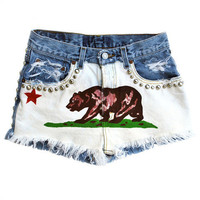 California Republic Style High Waisted Vintage Jean Shorts