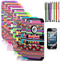 For iPhone 5 Tribal Hybrid Hard Silicone Impact Cover Case+Screen Protector+Pen