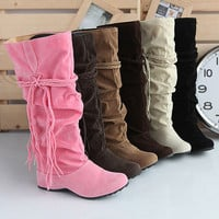 ★Brand NEW★Womens Shoes Mid Calf Fashion Boots Nubuck Leather Low Heels #SE-1153