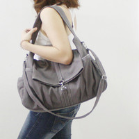 Christmas Sale  Gray Canvas Women Shoulder Bag Messenger door Kinies