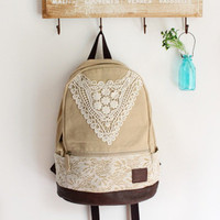 triangle lace canvas female fresh backpack-EMS
